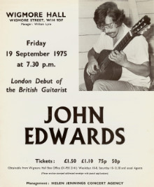 Poster - John Edwards playing at Wigmore Hall in 1975